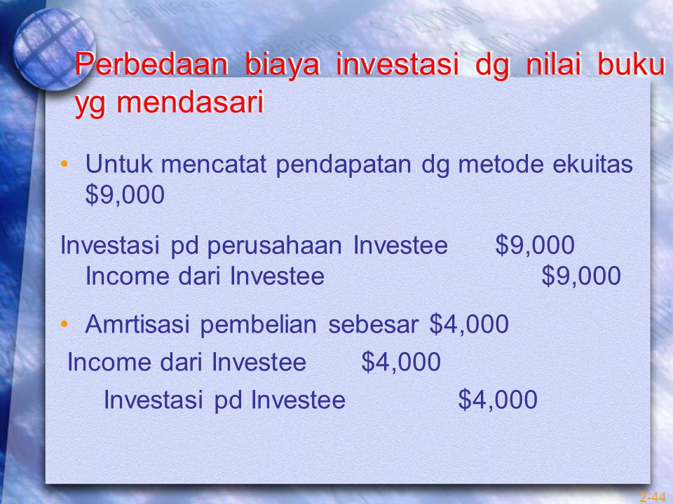 Perbedaan biaya investasi dg nilai buku yg mendasari