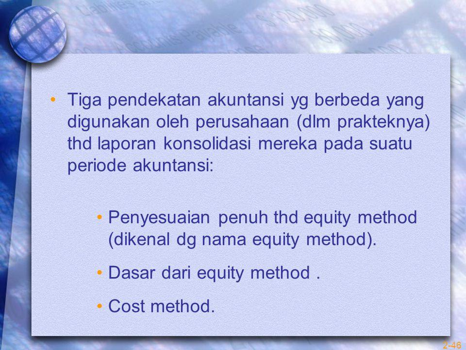 Tiga pendekatan akuntansi yg berbeda yang digunakan oleh perusahaan (dlm prakteknya) thd laporan konsolidasi mereka pada suatu periode akuntansi: