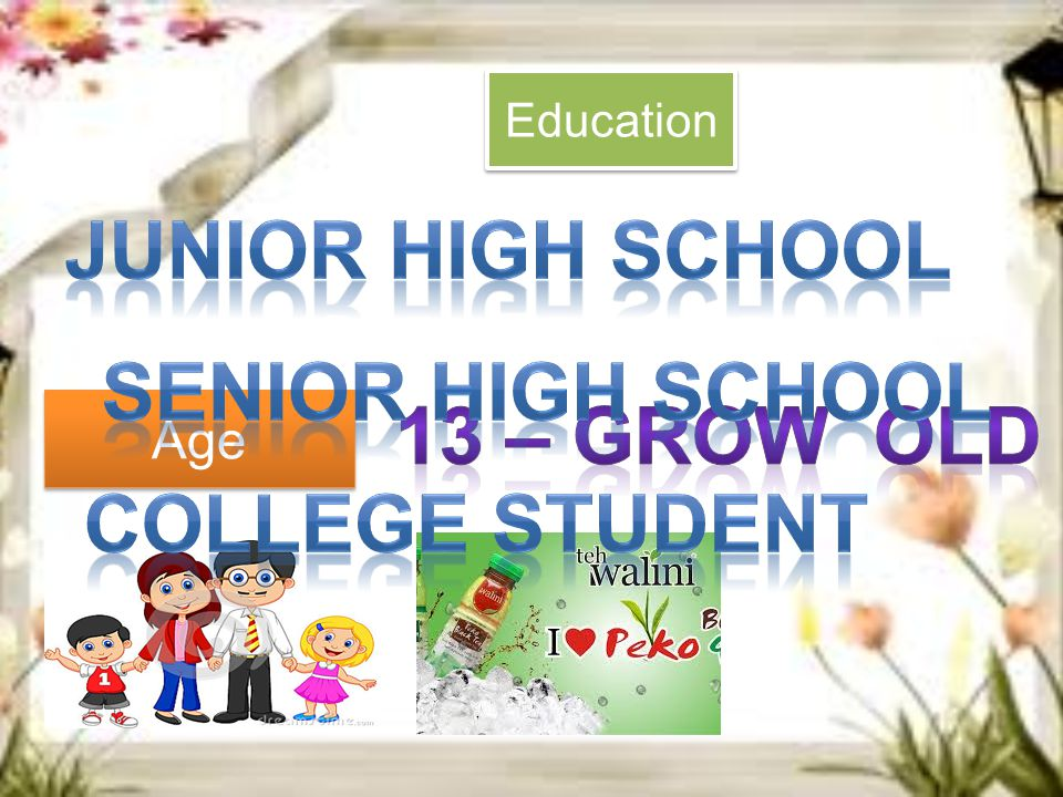 Junior high school SENIOR high school 13 – grow old College STUDENT