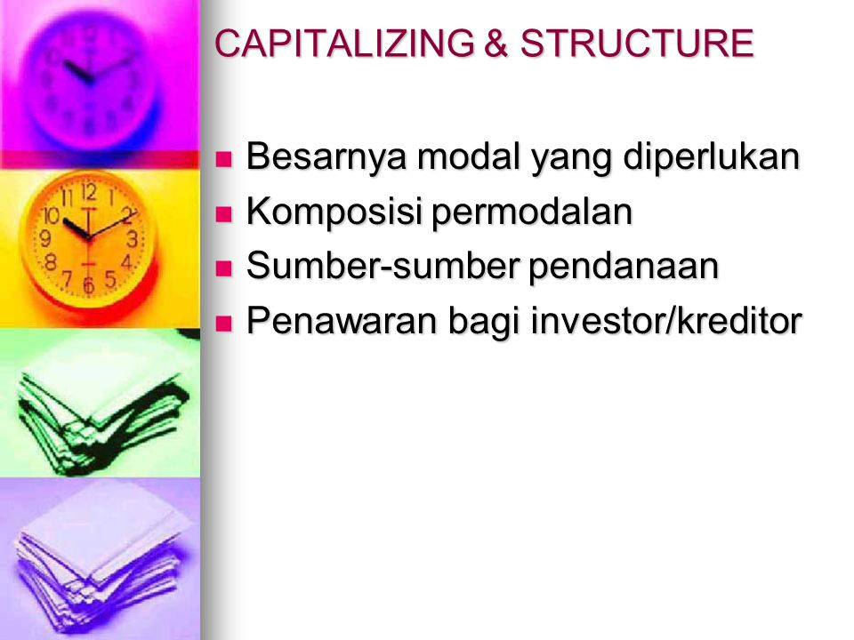 CAPITALIZING & STRUCTURE