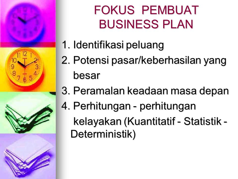 FOKUS PEMBUAT BUSINESS PLAN