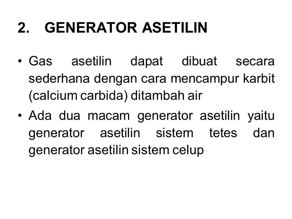 GENERATOR ASETILIN Gas asetilin dapat dibuat secara sederhana dengan cara mencampur karbit (calcium carbida) ditambah air.