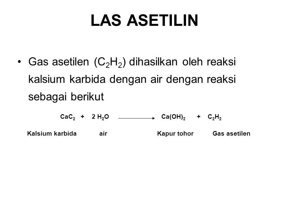LAS ASETILIN Gas asetilen (C2H2) dihasilkan oleh reaksi kalsium karbida dengan air dengan reaksi sebagai berikut.