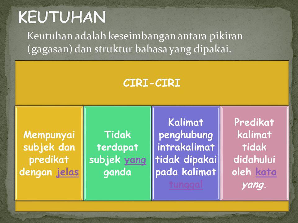 KEUTUHAN Keutuhan adalah keseimbangan antara pikiran (gagasan) dan struktur bahasa yang dipakai. CIRI-CIRI.