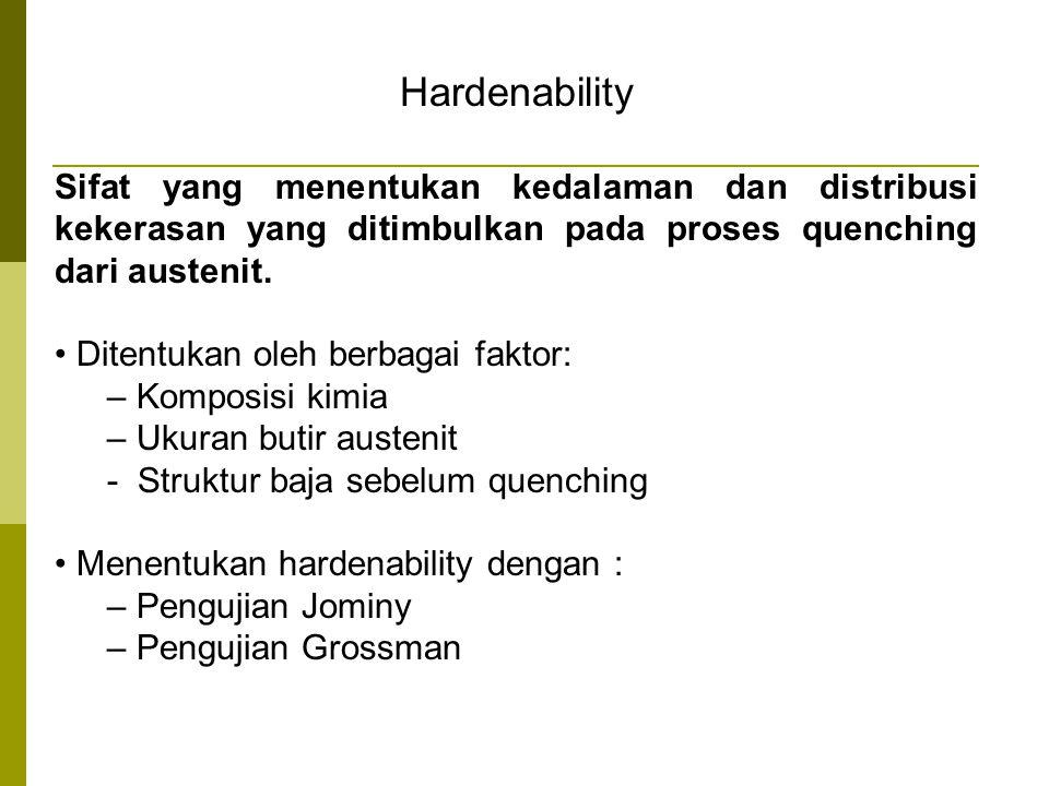 Hardenability Sifat yang menentukan kedalaman dan distribusi kekerasan yang ditimbulkan pada proses quenching dari austenit.