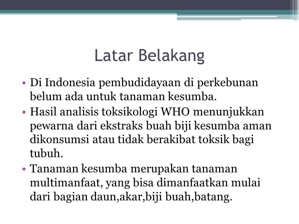 Latar Belakang Di Indonesia pembudidayaan di perkebunan belum ada untuk tanaman kesumba.