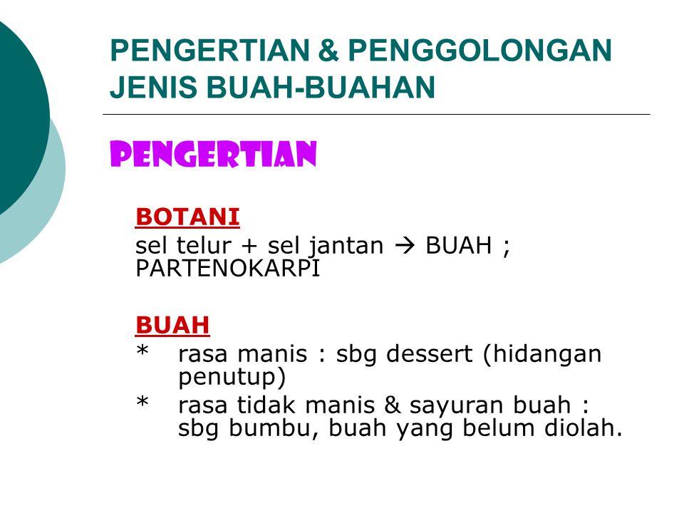PENGERTIAN & PENGGOLONGAN JENIS BUAH-BUAHAN