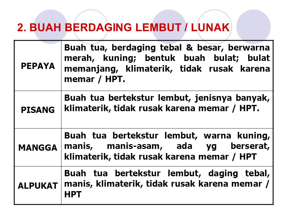 2. BUAH BERDAGING LEMBUT / LUNAK