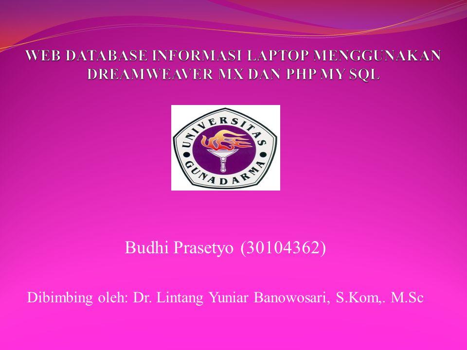 Dibimbing oleh: Dr. Lintang Yuniar Banowosari, S.Kom,. M.Sc