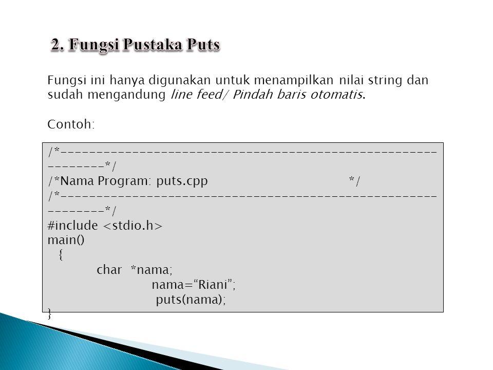 2. Fungsi Pustaka Puts Fungsi ini hanya digunakan untuk menampilkan nilai string dan sudah mengandung line feed/ Pindah baris otomatis.