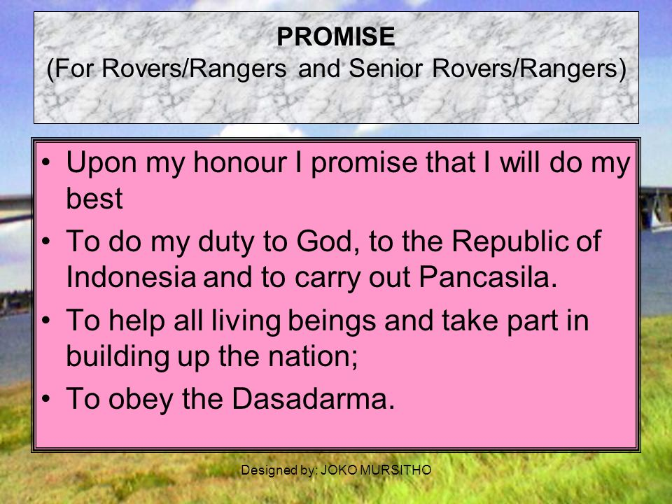 PROMISE (For Rovers/Rangers and Senior Rovers/Rangers)