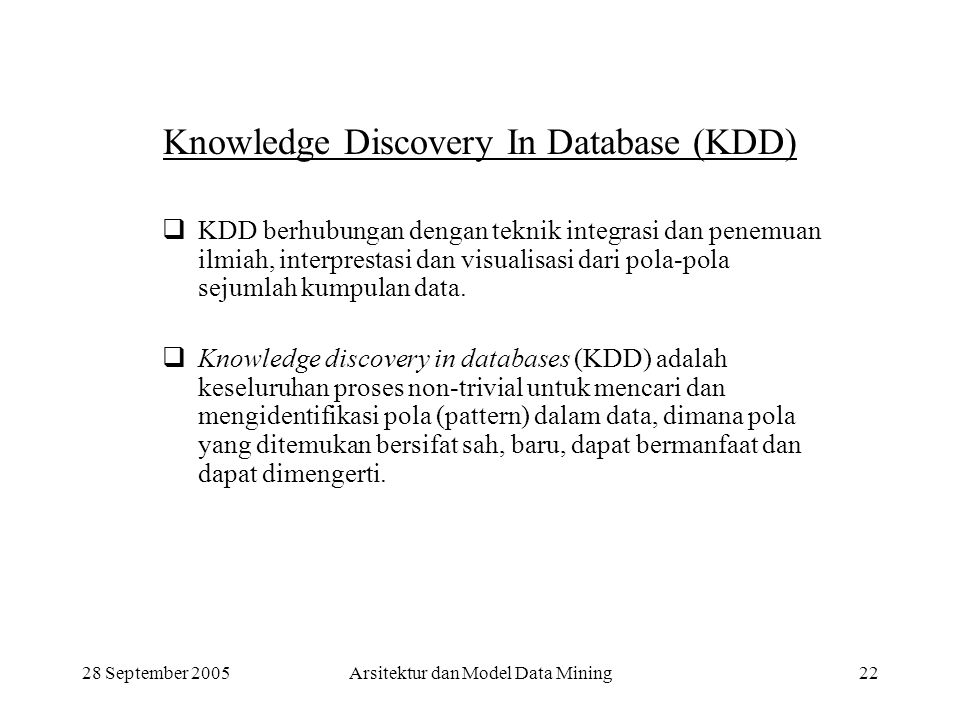 Knowledge Discovery In Database (KDD)
