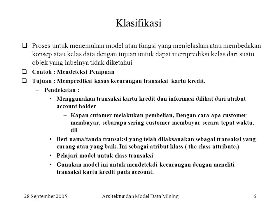 Arsitektur dan Model Data Mining