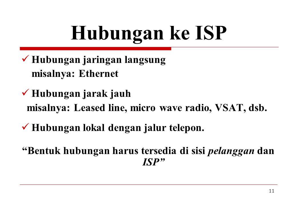 Bentuk hubungan harus tersedia di sisi pelanggan dan ISP