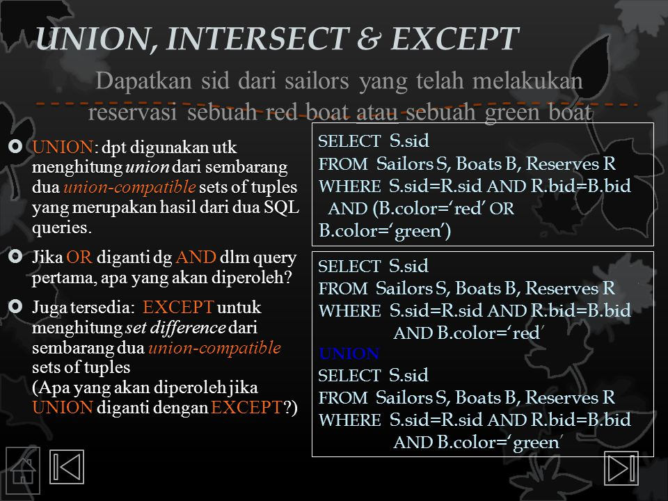 UNION, INTERSECT & EXCEPT