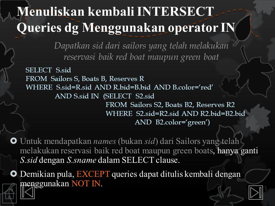 Menuliskan kembali INTERSECT Queries dg Menggunakan operator IN
