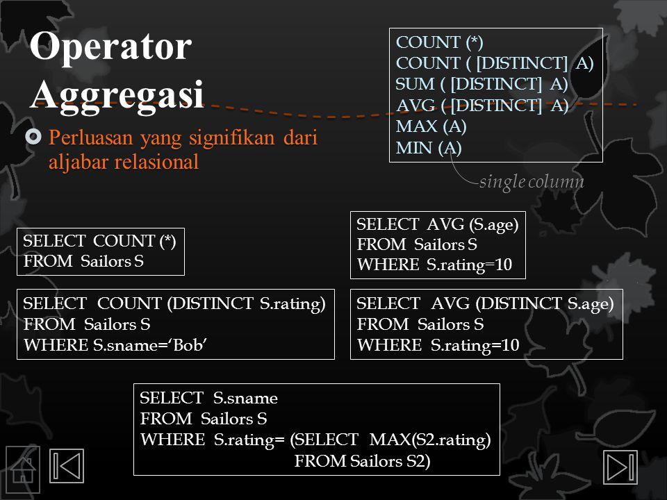 Operator Aggregasi Perluasan yang signifikan dari aljabar relasional
