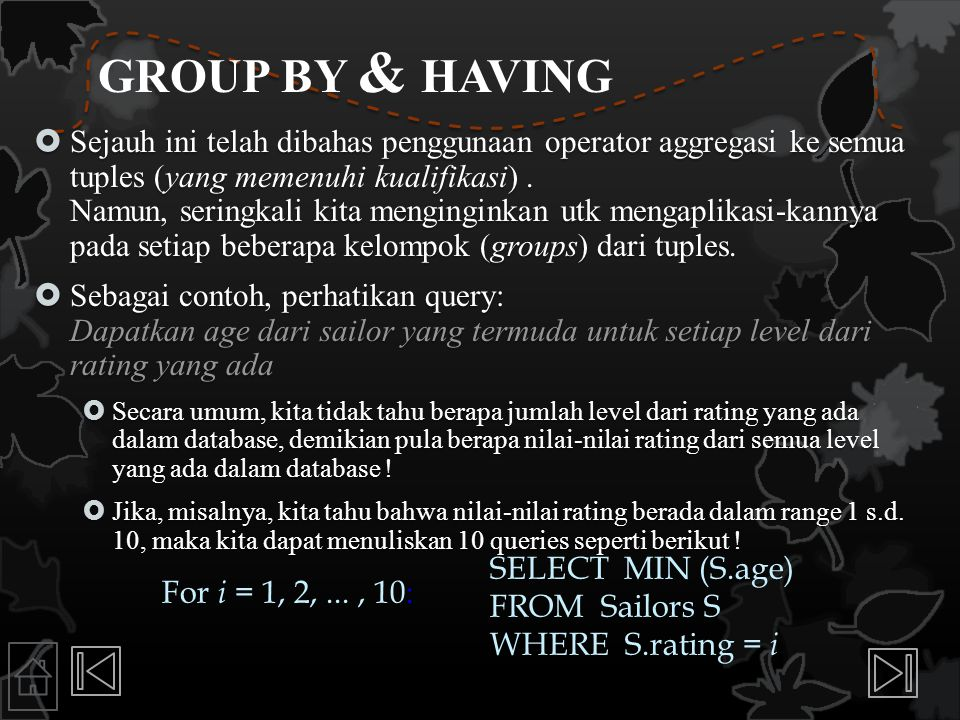 GROUP BY & HAVING