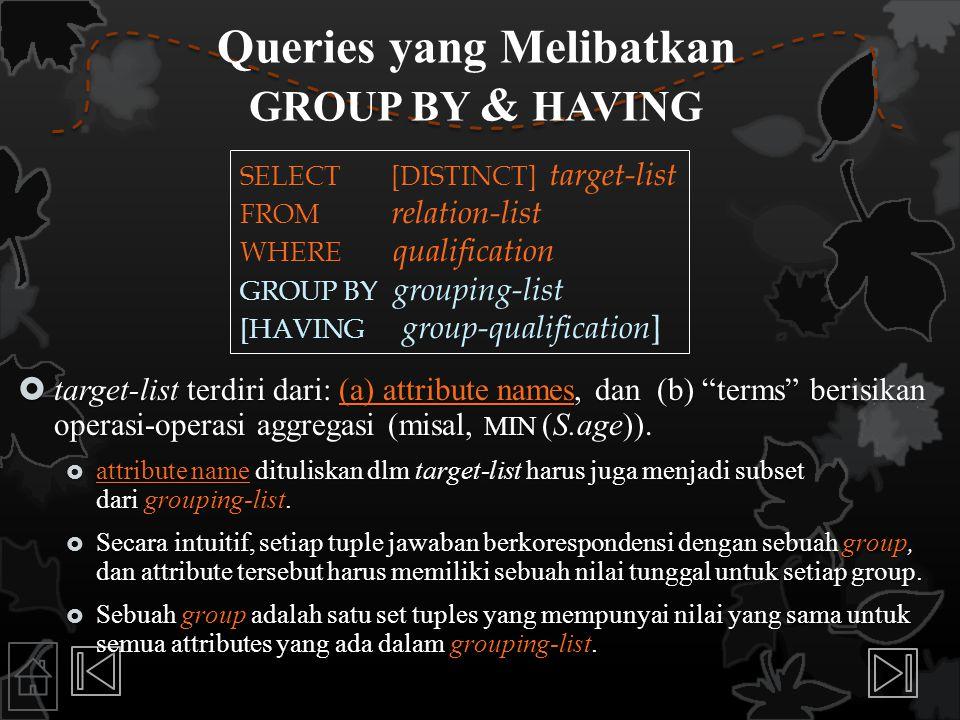Queries yang Melibatkan GROUP BY & HAVING