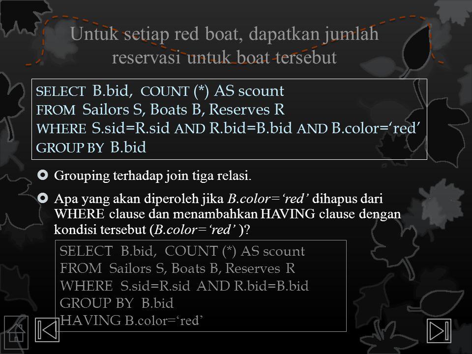Untuk setiap red boat, dapatkan jumlah reservasi untuk boat tersebut