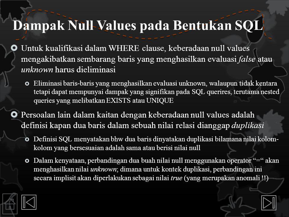 Dampak Null Values pada Bentukan SQL
