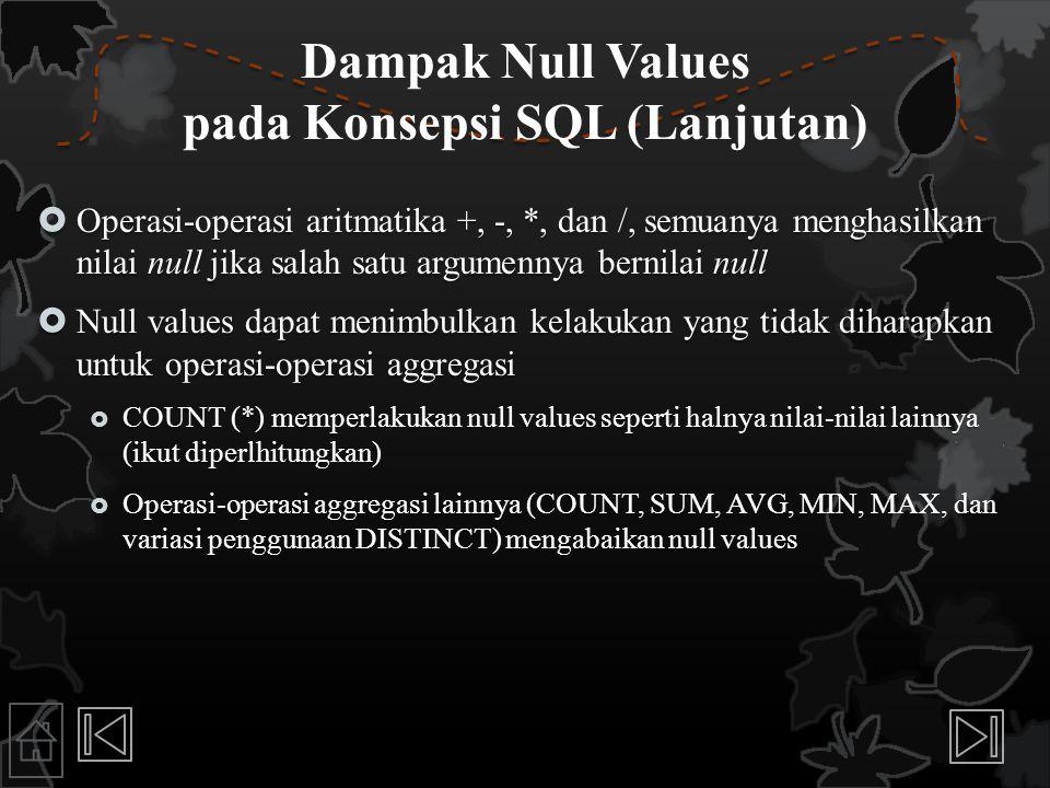 Dampak Null Values pada Konsepsi SQL (Lanjutan)