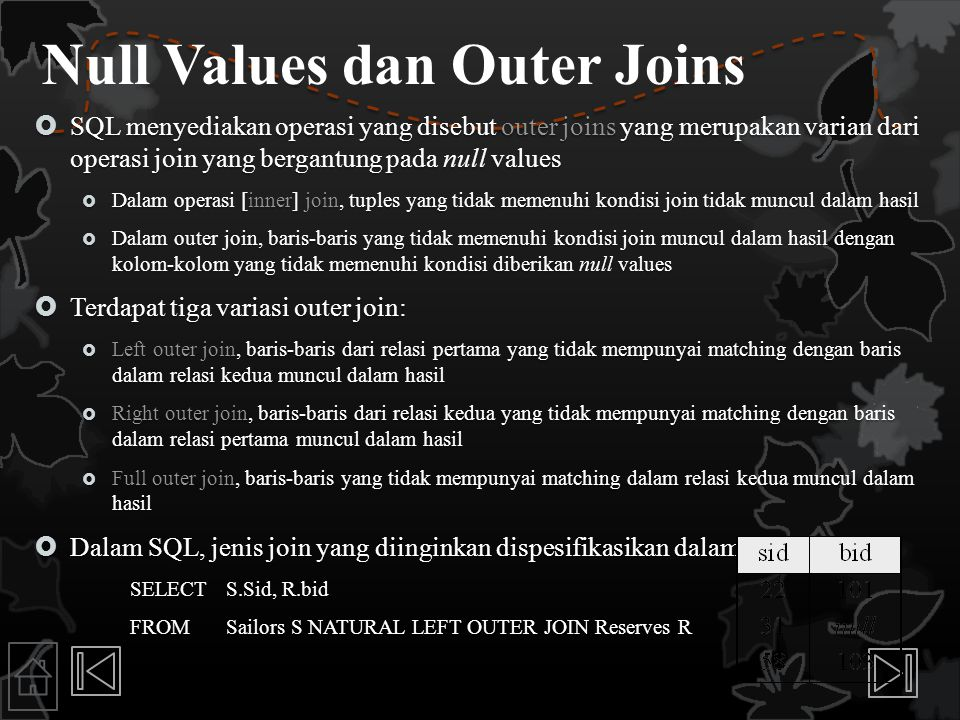 Null Values dan Outer Joins