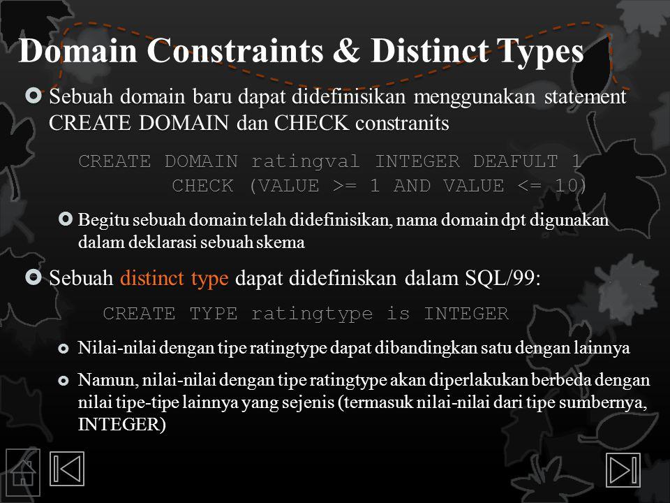 Domain Constraints & Distinct Types