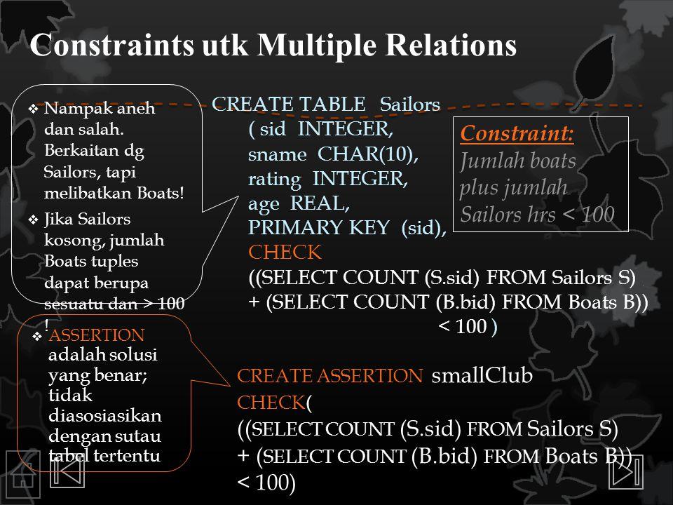 Constraints utk Multiple Relations