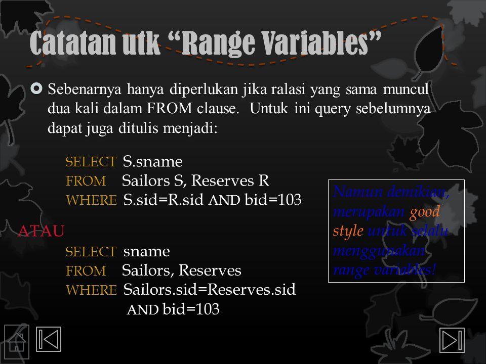 Catatan utk Range Variables