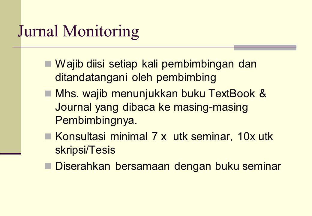 Jurnal Monitoring Wajib diisi setiap kali pembimbingan dan ditandatangani oleh pembimbing.