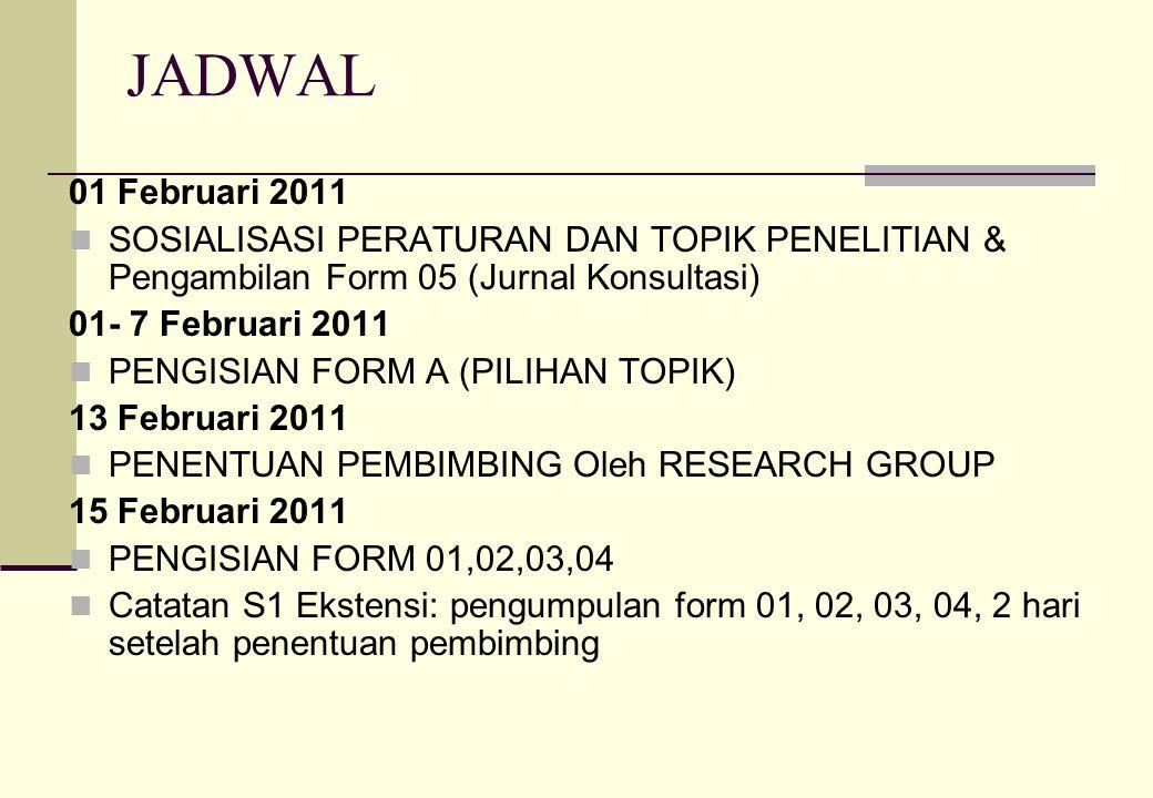 JADWAL 01 Februari 2011. SOSIALISASI PERATURAN DAN TOPIK PENELITIAN & Pengambilan Form 05 (Jurnal Konsultasi)