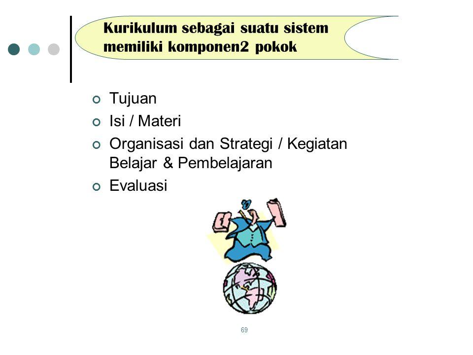 Kurikulum sebagai suatu sistem memiliki komponen2 pokok
