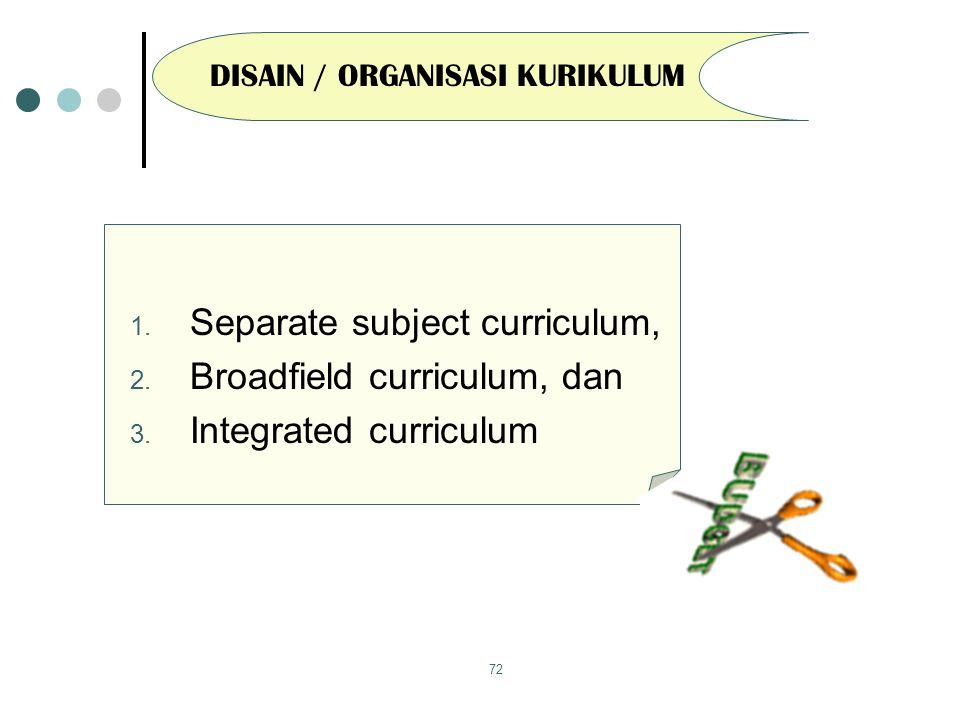 DISAIN / ORGANISASI KURIKULUM