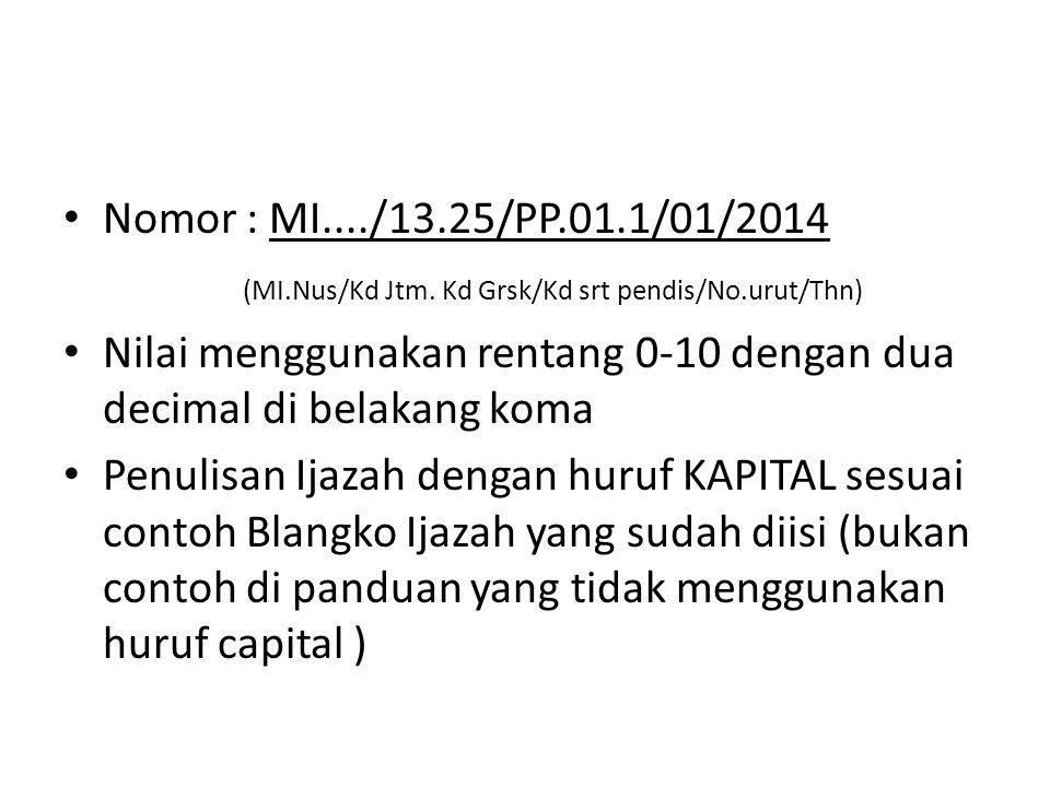 Nomor : MI..../13.25/PP.01.1/01/2014 (MI.Nus/Kd Jtm. Kd Grsk/Kd srt pendis/No.urut/Thn)