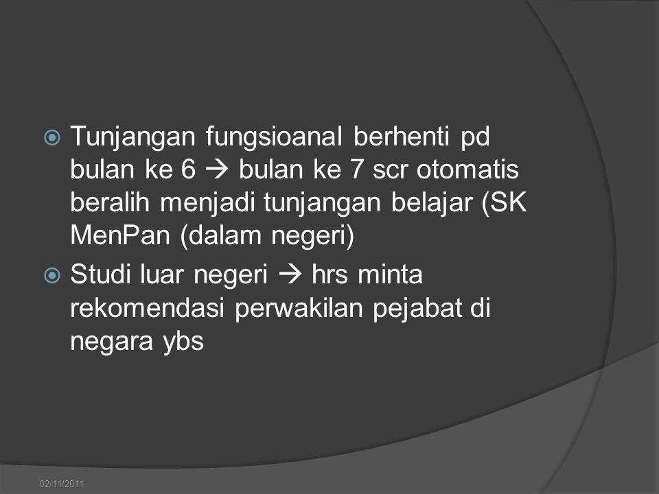Tunjangan fungsioanal berhenti pd bulan ke 6  bulan ke 7 scr otomatis beralih menjadi tunjangan belajar (SK MenPan (dalam negeri)