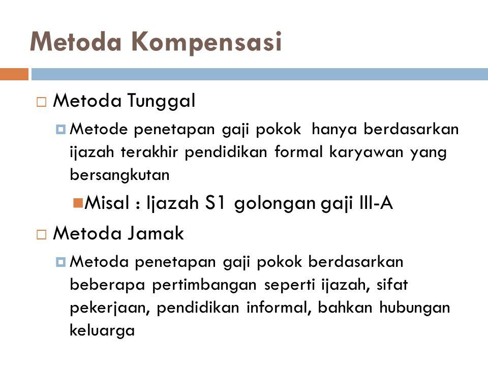 Metoda Kompensasi Metoda Tunggal Misal : Ijazah S1 golongan gaji III-A