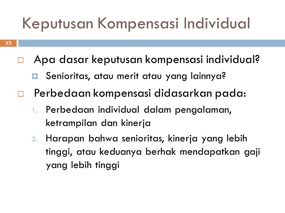 Keputusan Kompensasi Individual