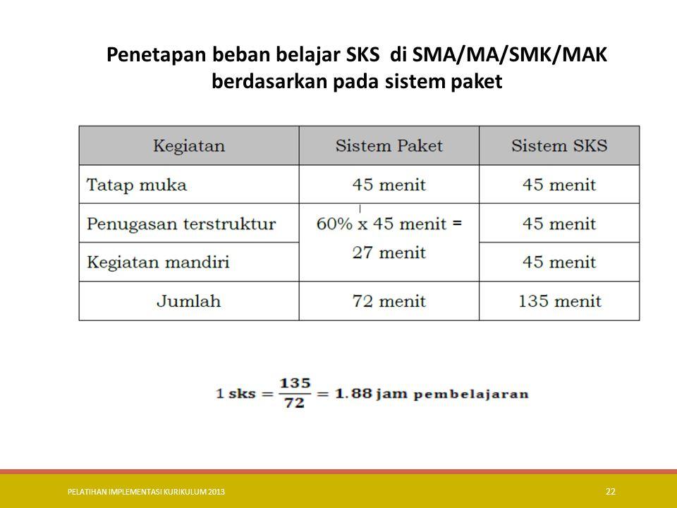 Penetapan beban belajar SKS di SMA/MA/SMK/MAK berdasarkan pada sistem paket