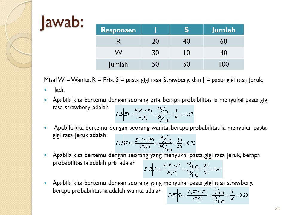 Jawab: Responsen J S Jumlah R 20 40 60 W 30 10 50 100