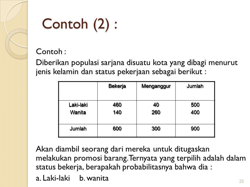 Contoh (2) : Contoh : Diberikan populasi sarjana disuatu kota yang dibagi menurut jenis kelamin dan status pekerjaan sebagai berikut :