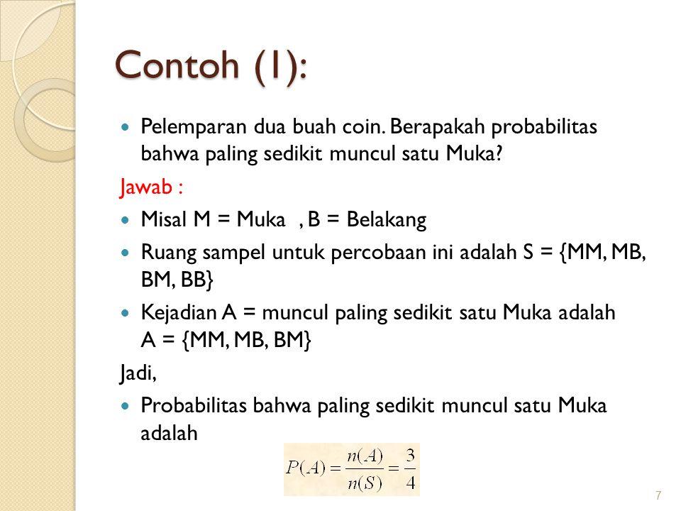 Contoh (1): Pelemparan dua buah coin. Berapakah probabilitas bahwa paling sedikit muncul satu Muka