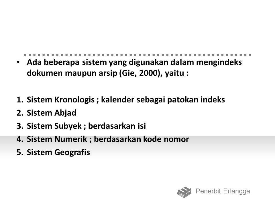 Sistem Kronologis ; kalender sebagai patokan indeks Sistem Abjad