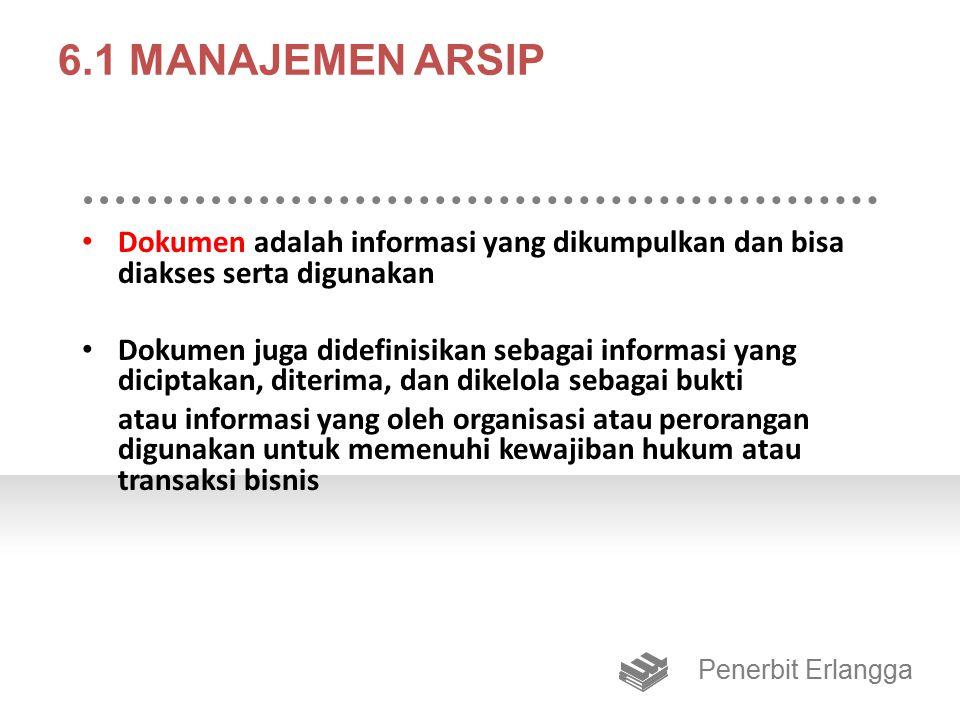 6.1 MANAJEMEN ARSIP Dokumen adalah informasi yang dikumpulkan dan bisa diakses serta digunakan.