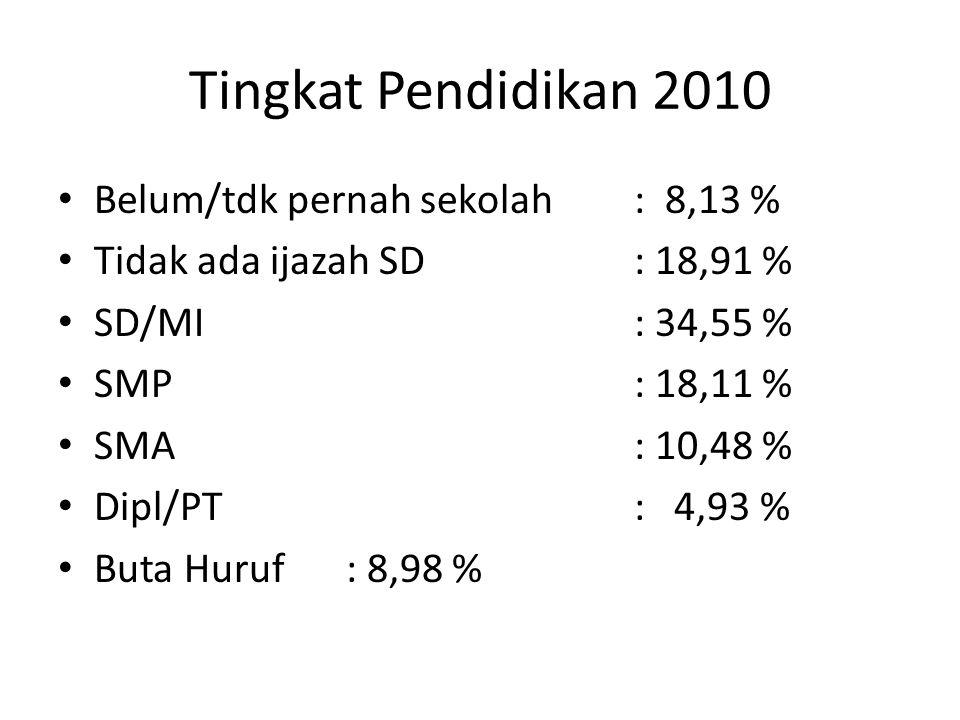Tingkat Pendidikan 2010 Belum/tdk pernah sekolah : 8,13 %