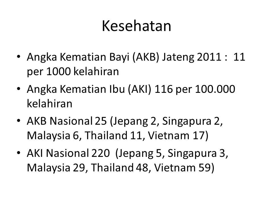Kesehatan Angka Kematian Bayi (AKB) Jateng 2011 : 11 per 1000 kelahiran. Angka Kematian Ibu (AKI) 116 per 100.000 kelahiran.