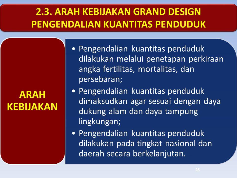 2.3. ARAH KEBIJAKAN GRAND DESIGN PENGENDALIAN KUANTITAS PENDUDUK