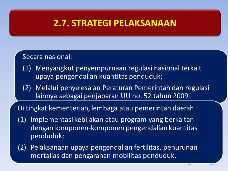 2.7. STRATEGI PELAKSANAAN Secara nasional: