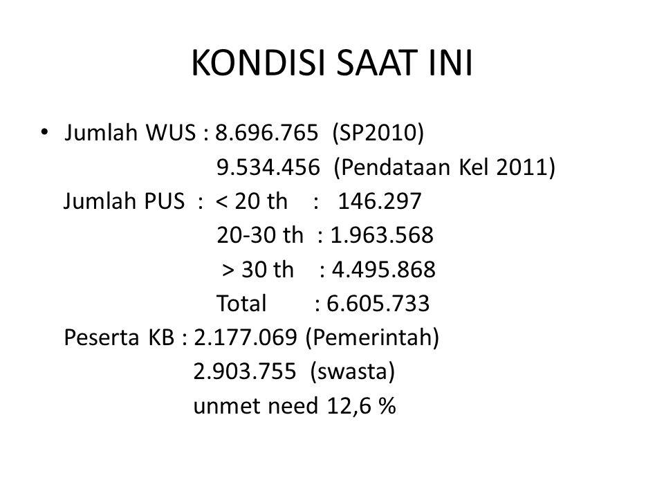 KONDISI SAAT INI Jumlah WUS : 8.696.765 (SP2010)