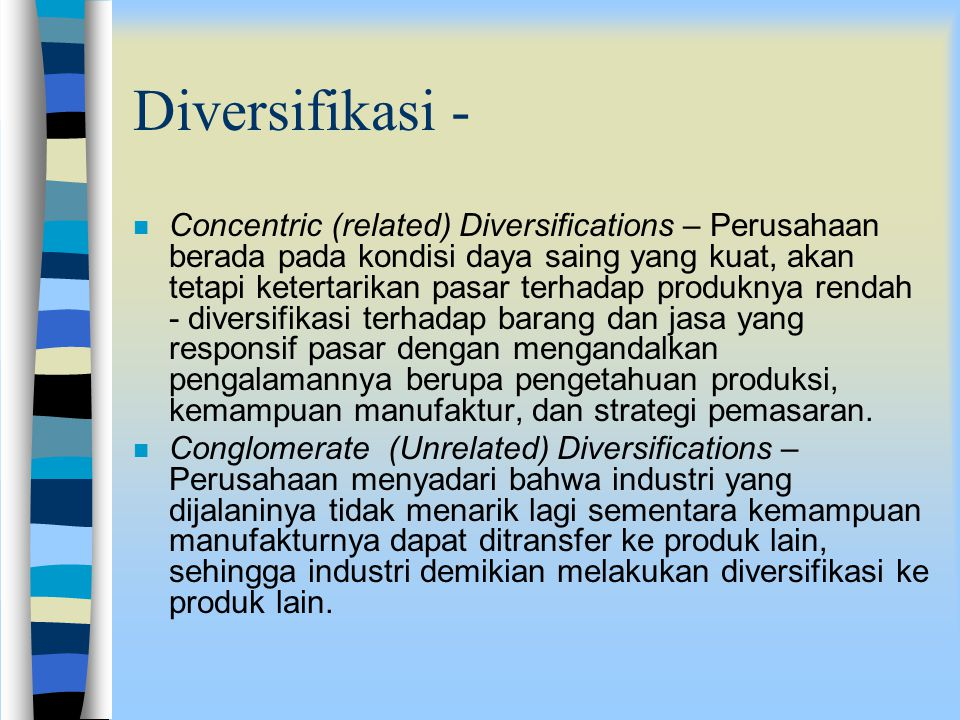 strategi pertumbuhan melalui diversifikasi